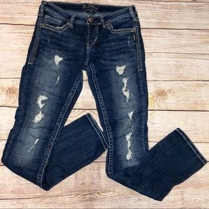Distressed Straight Leg Jeans Silver Aiko